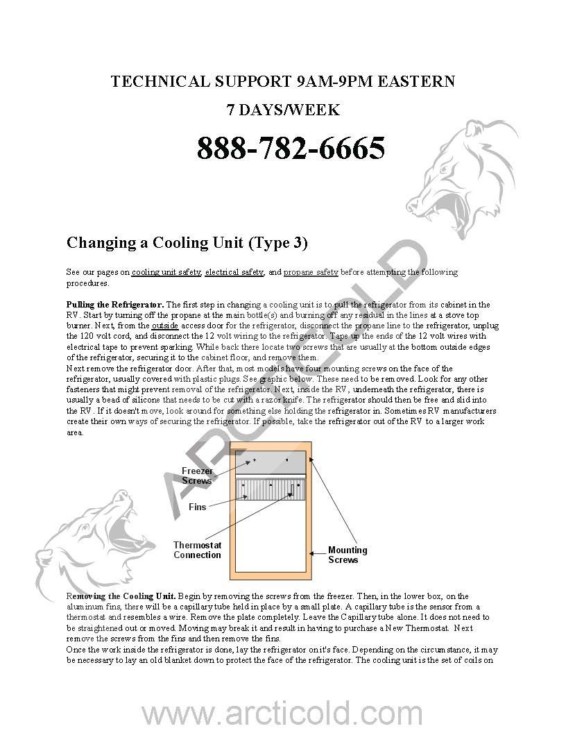 Page 1 Type 3 Install Instructions For Dometic One Door Model