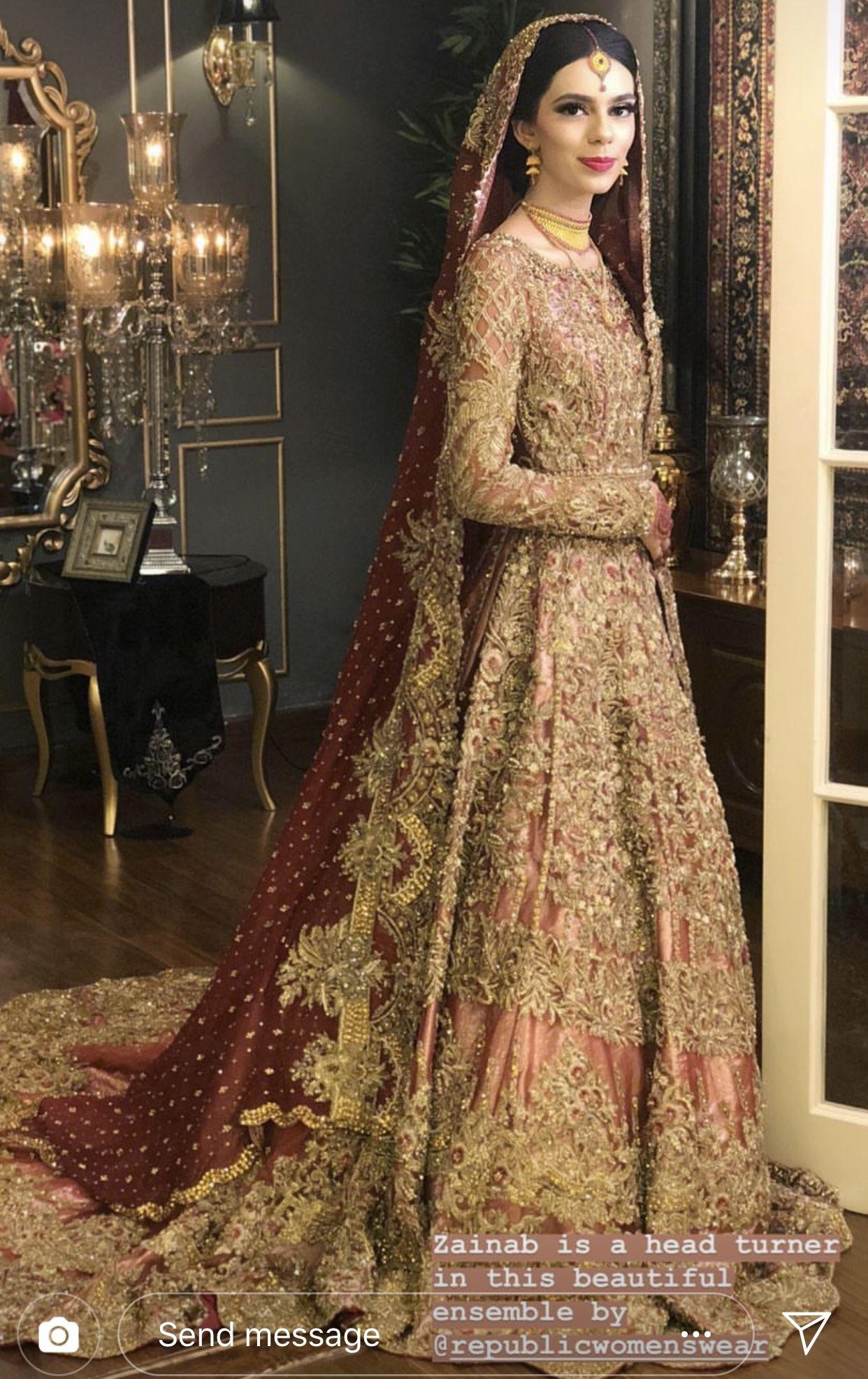Baraat bride  Bridal dresses pakistan, Asian bridal dresses