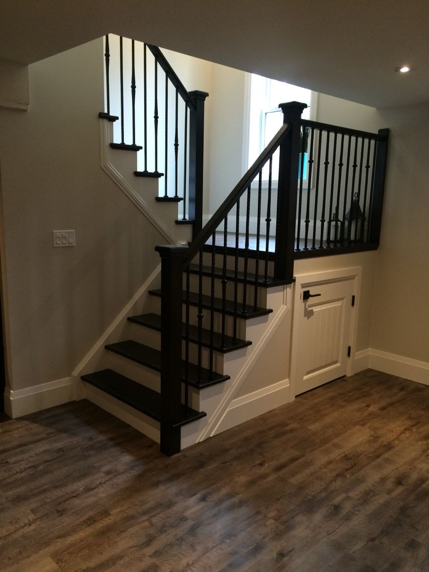Stair With Landing Dark Ebony Finish On Stair Tread | Finished Wood Stair Treads