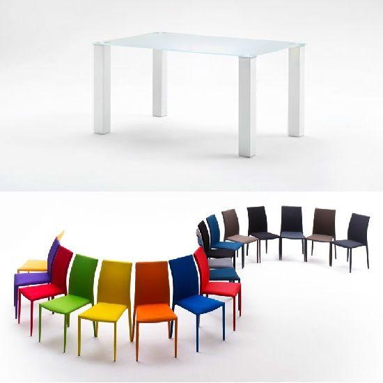 Hanna Rectangular Glass Dining Table With Mila Chairs Glass - 4 seater glass dining table sets
