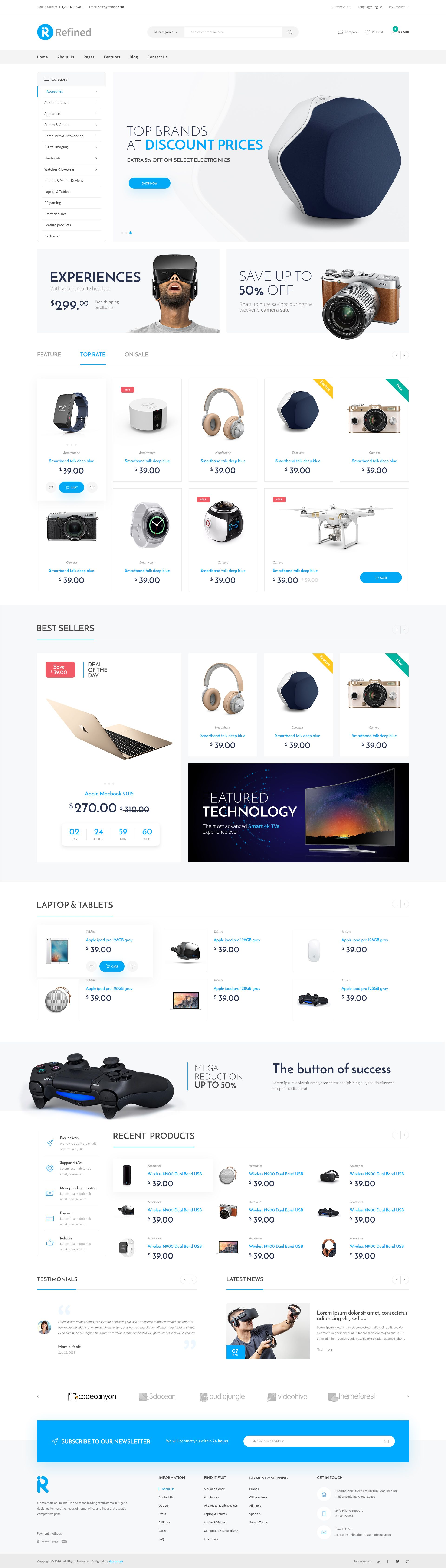 Refined - Electronics eCommerce PSD #online shop #retail #store • Download ➝ https://themeforest.net/item/refined-electronics-ecommerce-psd/19618911?ref=pxcr