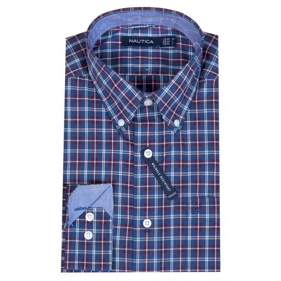 3dbb00a20717 NAUTICA Ανδρικό κλασσικό καρό πουκάμισο