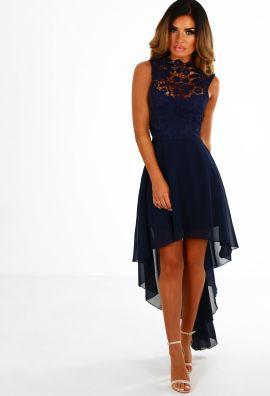 52b92caf7828 Solo Dancer Navy Crochet Dip Hem Chiffon Maxi Dress   Fashion ...