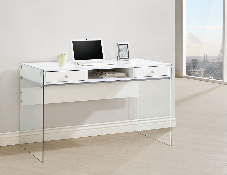 Jeffrey Collection 800829 Computer Desk In Glossy White White Computer Desk Writing Desk With Drawers Modern Computer Desk