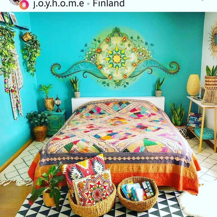 Bohemian Bed Designs With Exposed Boho Beam   Hippie Boho Gypsy is part of Bohemian bedroom decor - A blend of hues and staggering examples   bohemian chic beds has an enchanted intensity of changing the room into a masterful spring of inventive dreams