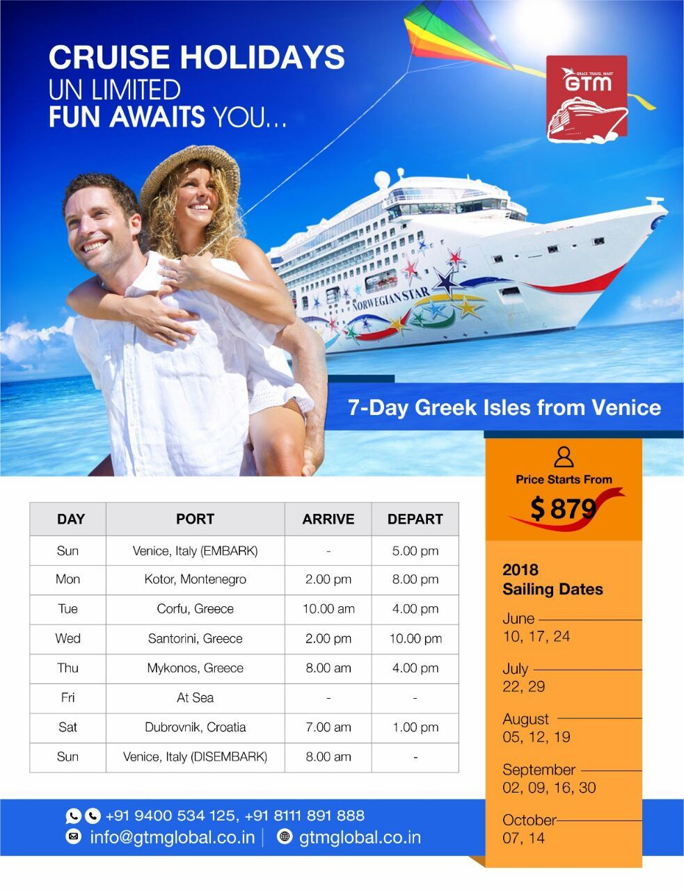 Cruise Holidays with GTM Let's Sail Global...! Kerala