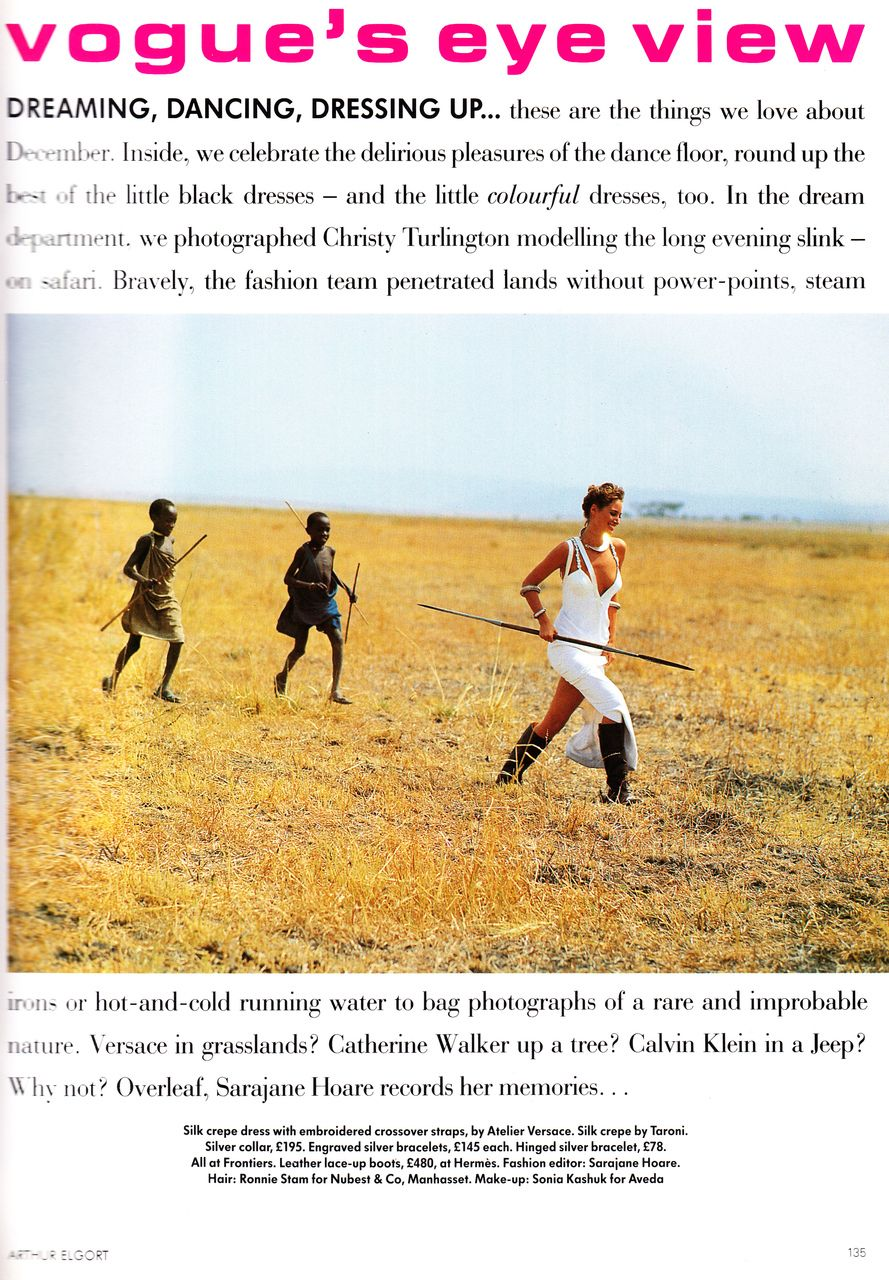 UK Vogue December 1991 Serengeti Dreaming... Photographer: Arthur Elgort Model: Christy Turlington Fashion Editor: Sarajane Hoare Hair: Ronniee Stam Makeup: Sonia Kashuk
