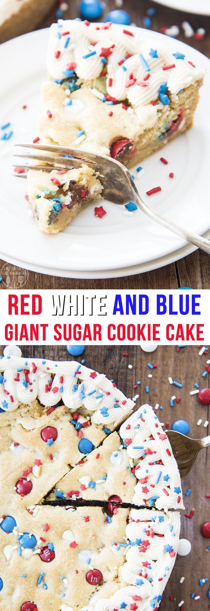 This giant sugar cookie cake is a perfect red, white and blue, patriotic dessert for Memorial Day or the 4th of July! It's loaded with red, white, and blue M&Ms and white chocolate chips and topped with a simple buttercream and fun sprinkles for the perfect summer dessert! giant sugar cookie cake is a perfect red, white and blue, patriotic dessert for Memorial Day or the 4th of July! It's loaded with red, white, and blue M&Ms and white chocolate chips and topped with a simple buttercream and fun sprinkles for the perfect summer dessert!