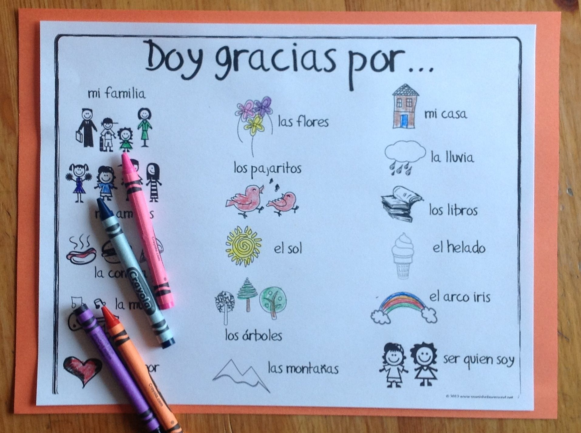 Spanish Thanksgiving Printables: Coloring Pages with Vocabulary - Spanish Playground