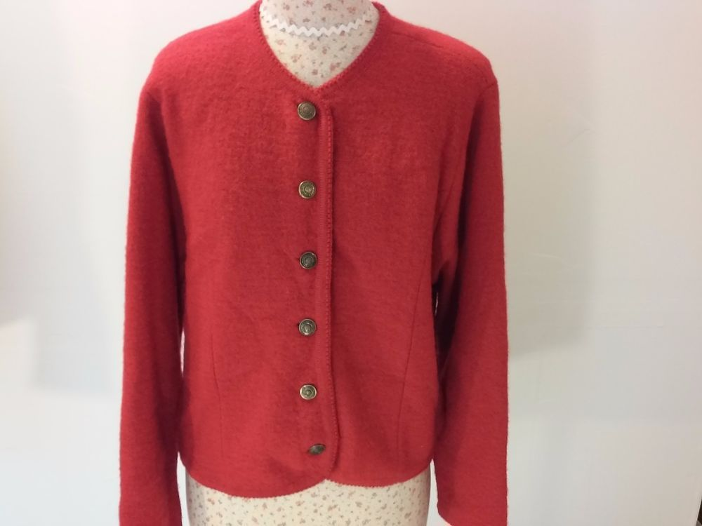 Vintage Tally Ho Womens Red S Cardigan 100% Wool Sweater Top ...