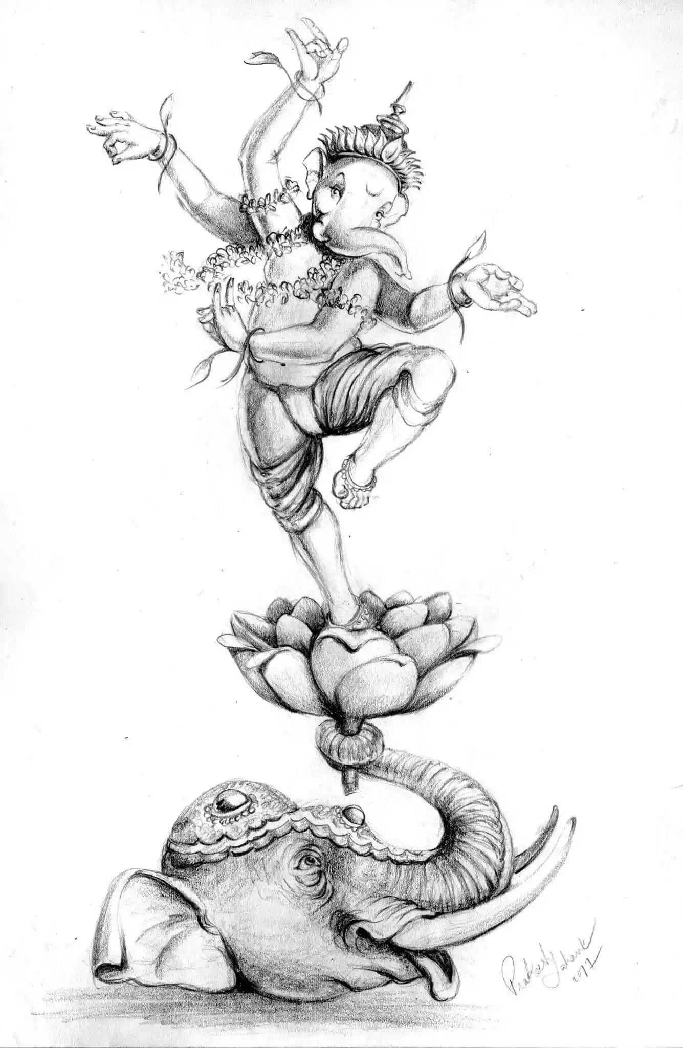Shri ganesh lord ganesha lord shiva krishna pencil art pencil sketching