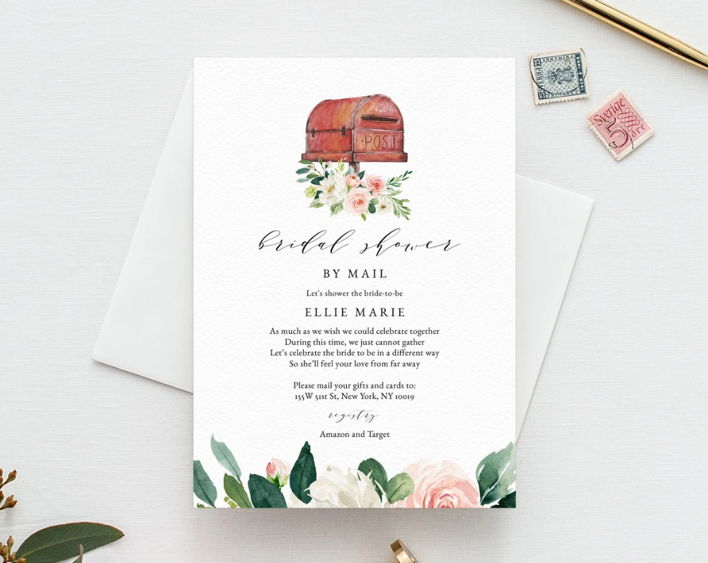 Bridal Shower By Mail Template Social Distancing Blush Bridal Shower Invitation Long Distance Bridal Shower Template Templett W29 In 2020 Gold Baby Shower Invitations Baby Shower Templates Baby Shower Invitations