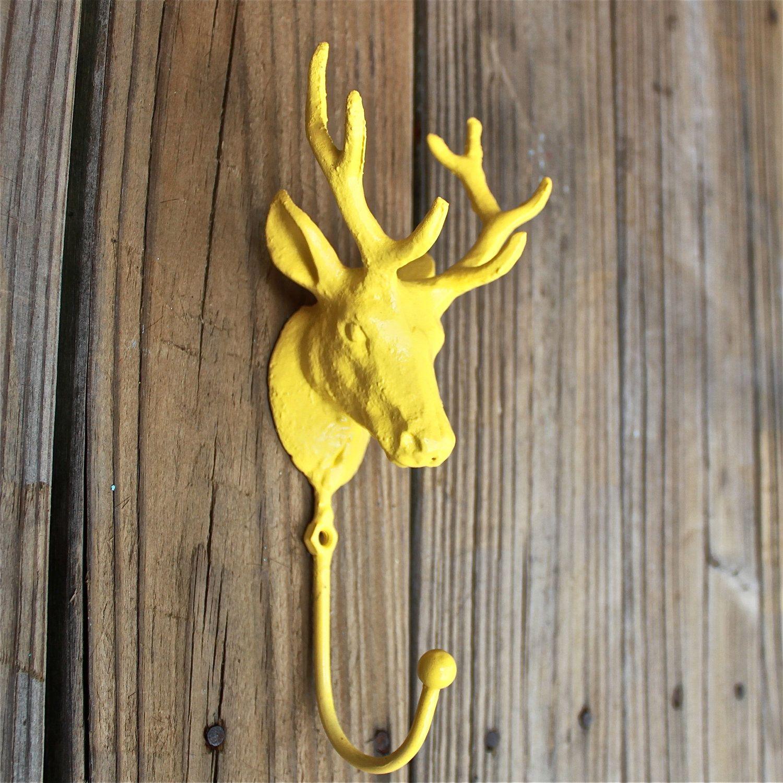 Deer Hook /Wall Hook /Bright Yellow /Distressed /Towel Holder /Boys ...