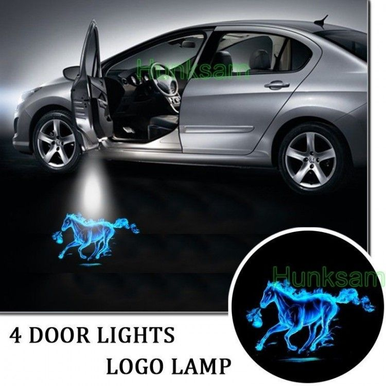 2016 New Car 2x Door Led Welcome Projector Logo Shadow Light For Ford Mustang Fire Horse Blue 4866 Ford Mustang Accessories Mustang Accessories Car