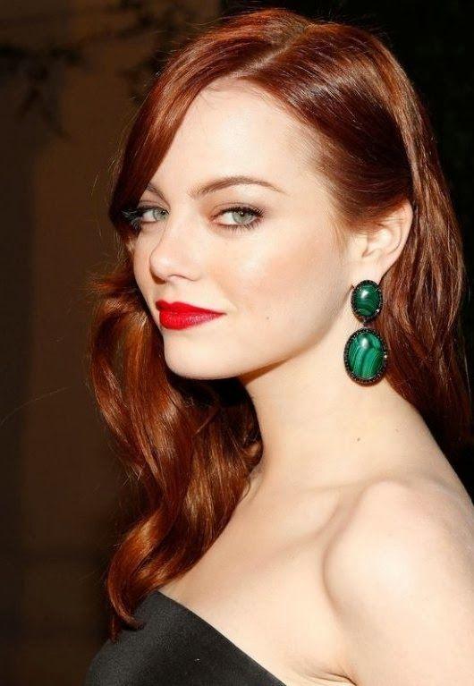 Auburn Red Lipstick Pale Skin Hair