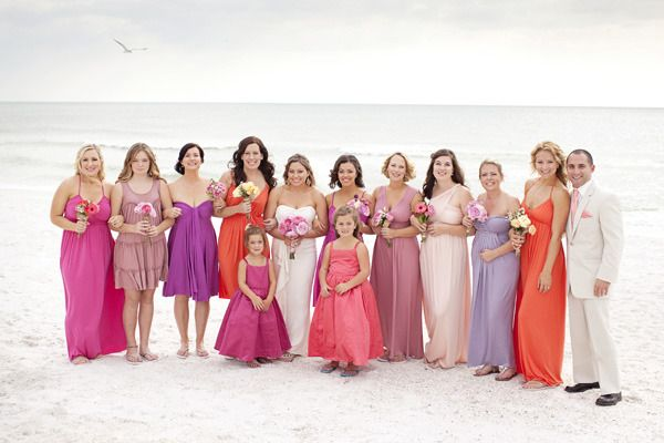 The bride wanted her ladies to look like the colors of a Florida sunset ;)