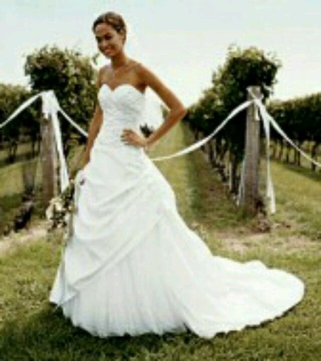 Rouched bodice/ A-line sold at Davids Bridal. Also in Ivory :)