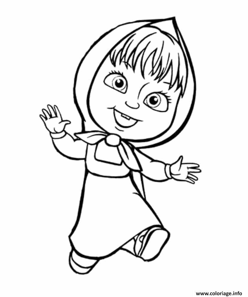 Coloriage masha et michka est joyeuse  imprimer et coloriage en ligne pour enfants Dessine les coloriages Masha Et Michka Est Joyeuse de dessin gratuit