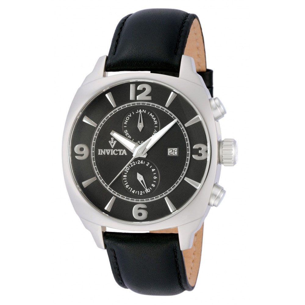 Invicta 12205 Men's Vintage Black Dial Black Leather Strap Stainless Steel Auto Multicalendar Watch