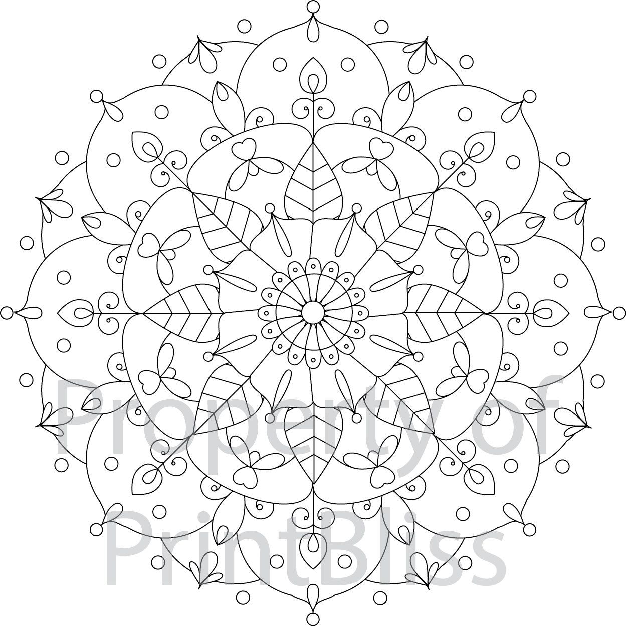 Printable coloring pages etsy - Flower Mandala Printable Coloring Page By Printbliss On Etsy