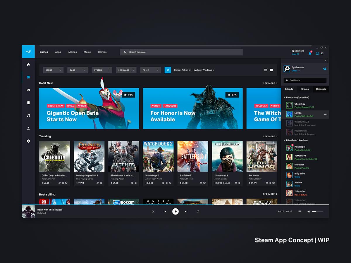 Steam App Redesign Concept on Behance in 2020 Steam app