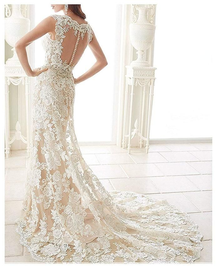 New Arrival Appliques Lace Sheer Back Mermaid Wedding Dress Bridal Gown