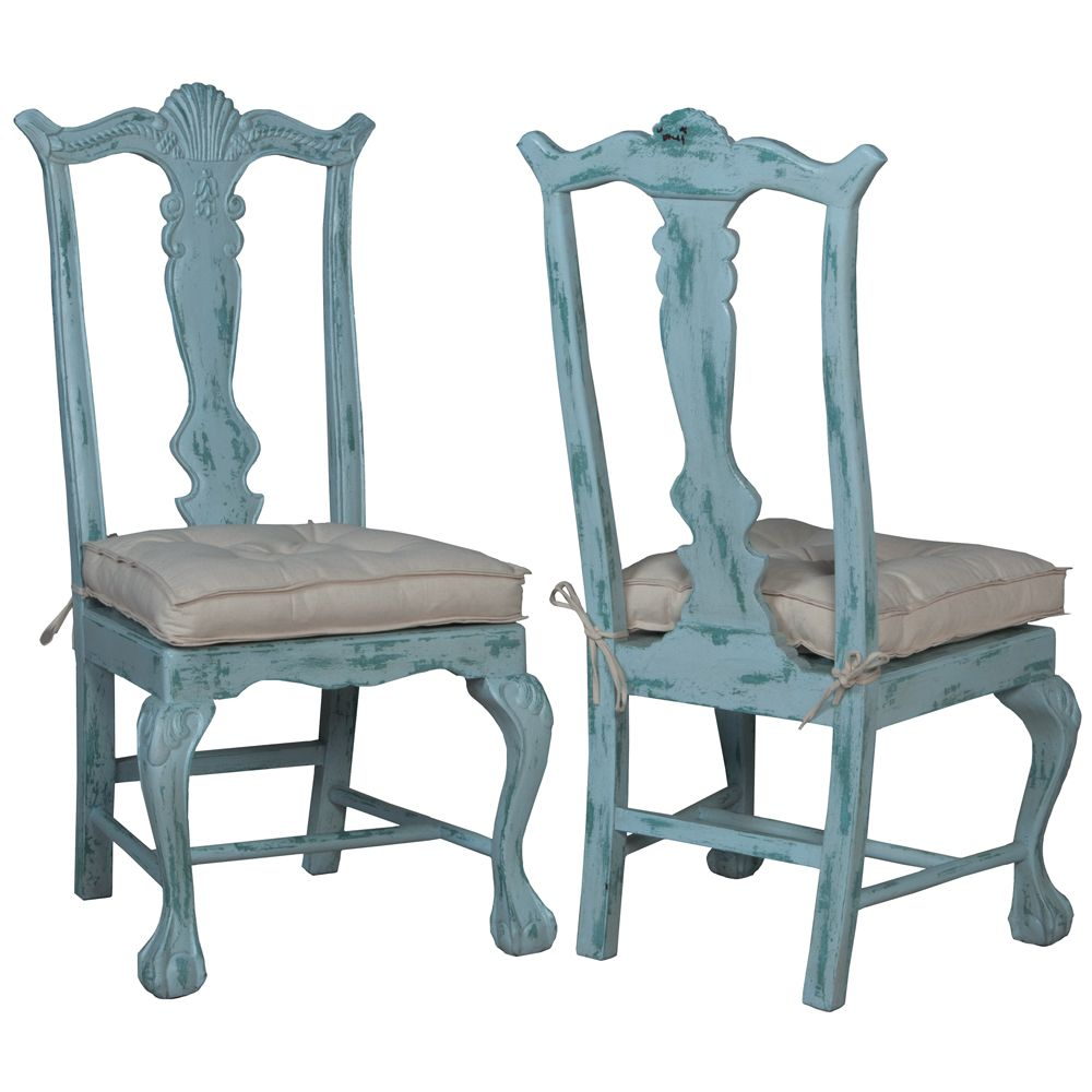 Waterfront Blue Chippendale Chairs - Coastal cottage 4 sets | Blue ...