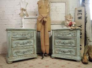 Vintage teal dressers