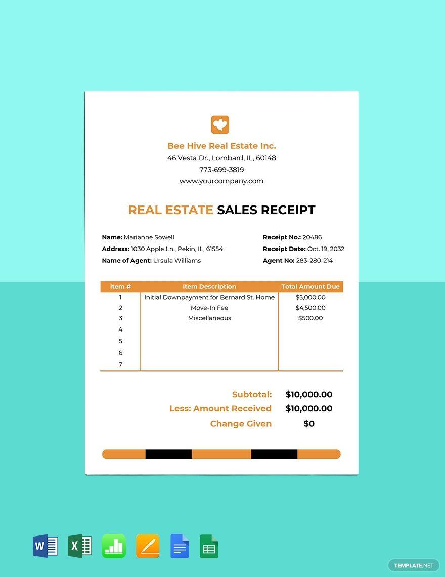Real Estate Sales Receipt Template Free Pdf Google Docs Google Sheets Excel Word Template Net Receipt Template Real Estate Sales Google Sheets