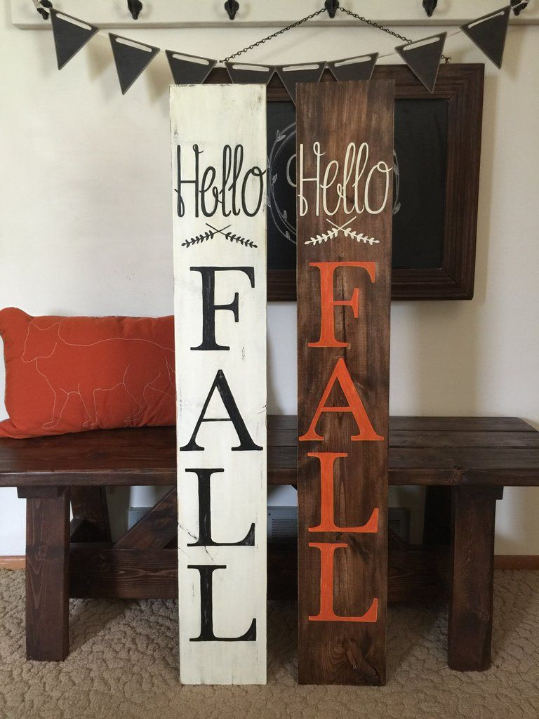 Hello Fall Outdoor Indoor Wood Sign Fall Wood Signs Fall Pallet Signs Diy Fall