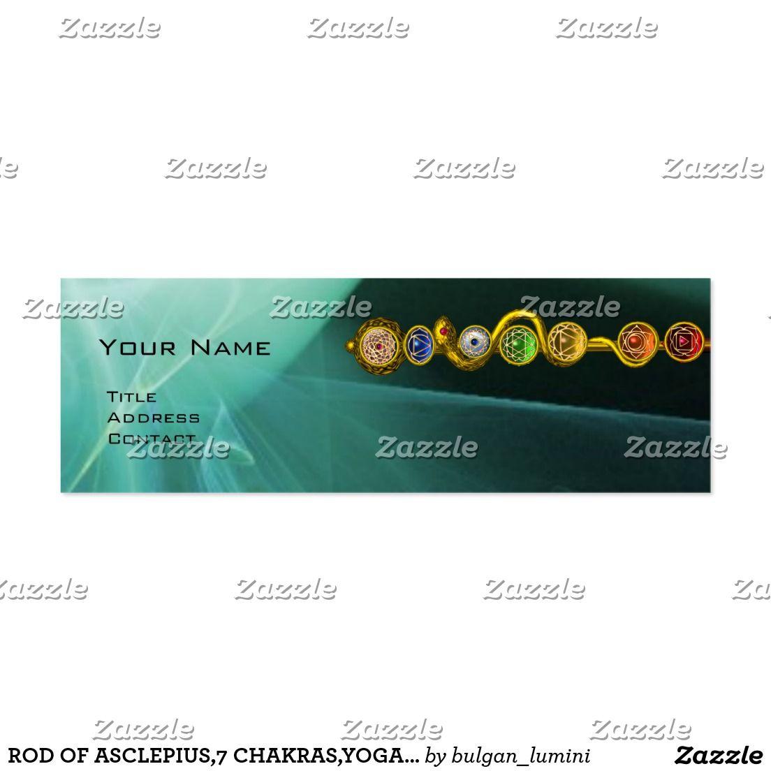 Rod of asclepius,7 chakras,yoga ,spiritual energy mini business card ...
