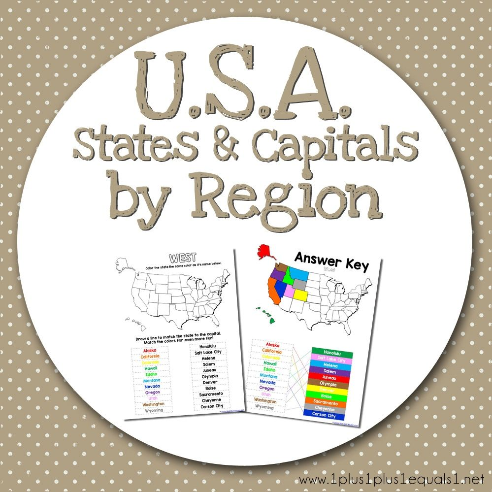 USA States and Capitals worksheets divided by region