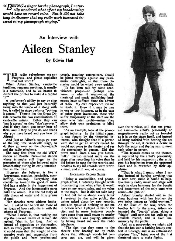 aileen stanley | PHONOGRAPH STARS ON THE RADIO - THE WIRLESS AGE INTERVIEWS ...