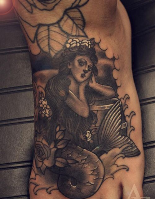 c71ae49a7 15 Simple and Traditional Mermaid Tattoo Designs | Tattoos | Feet ...