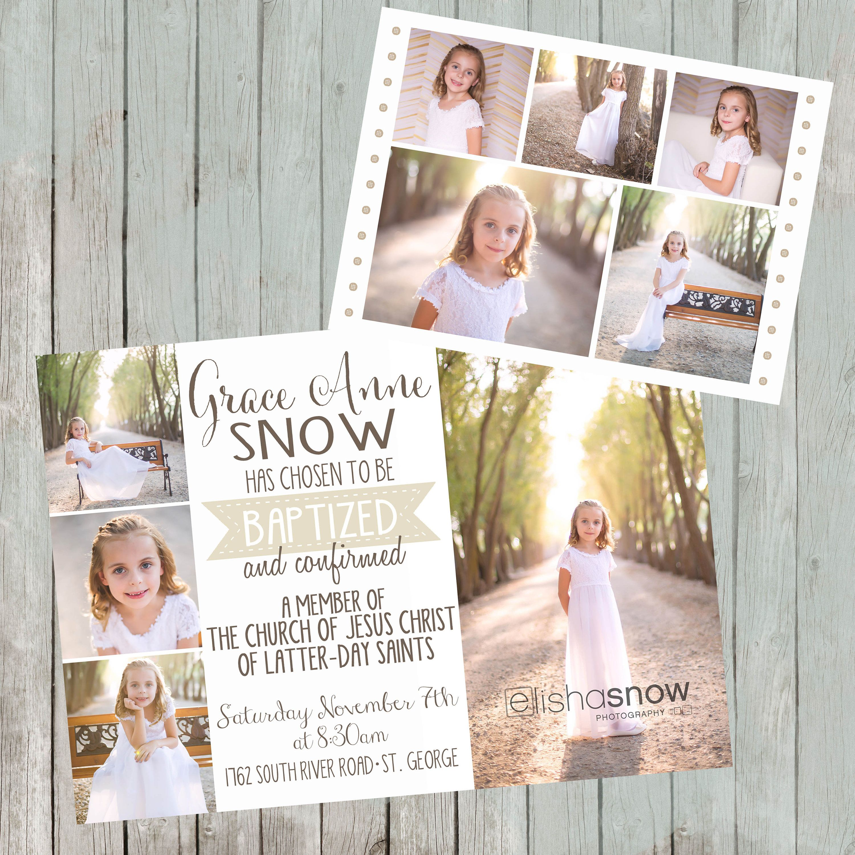 LDS Baptism Announcement Double Sided Up To 9 Photos