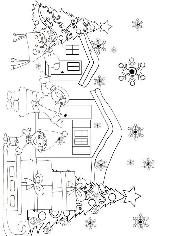 Coloriage Du Père Noël Et Son Lutin à Côté De Son Traîneau