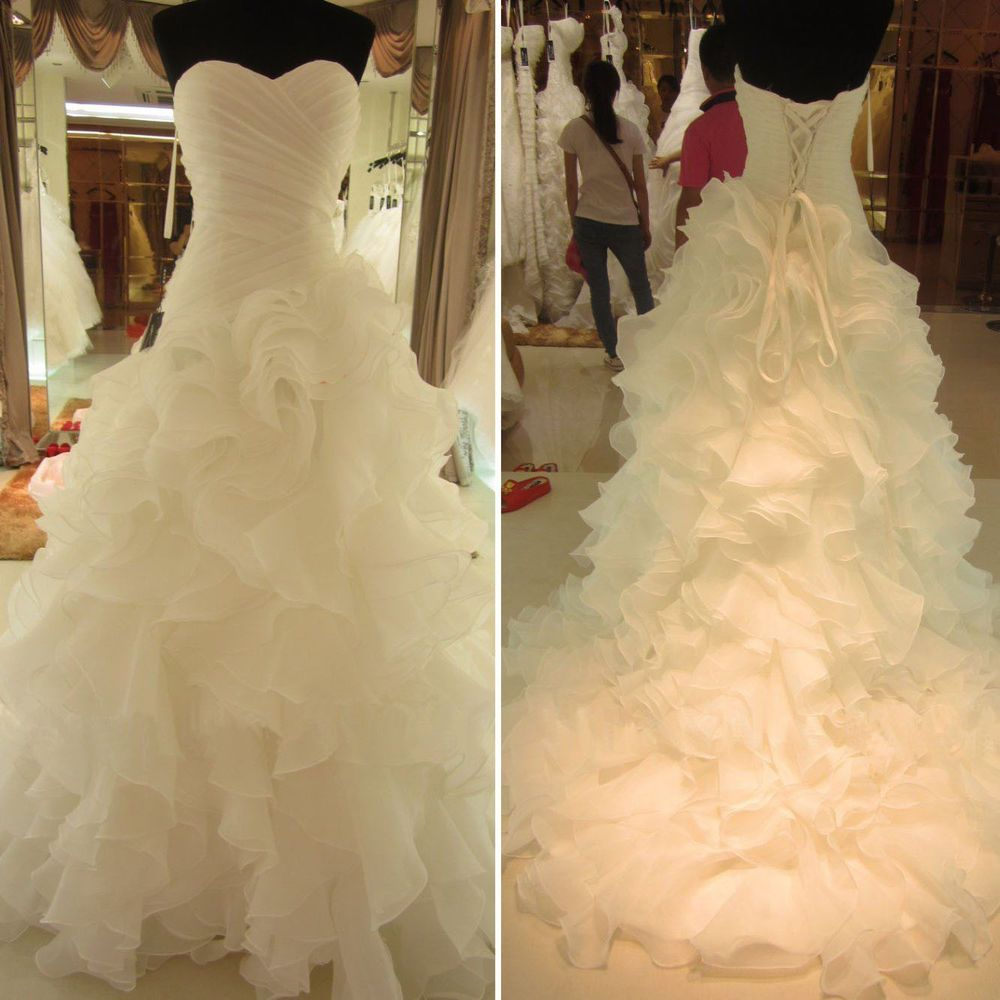 Details About Sleeveless Wedding Dresses Ruffled Bridal Gowns