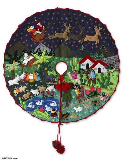 Peruvian Folk Art Cotton Christmas Scene Tree Skirt, \u0027Nativity Scene