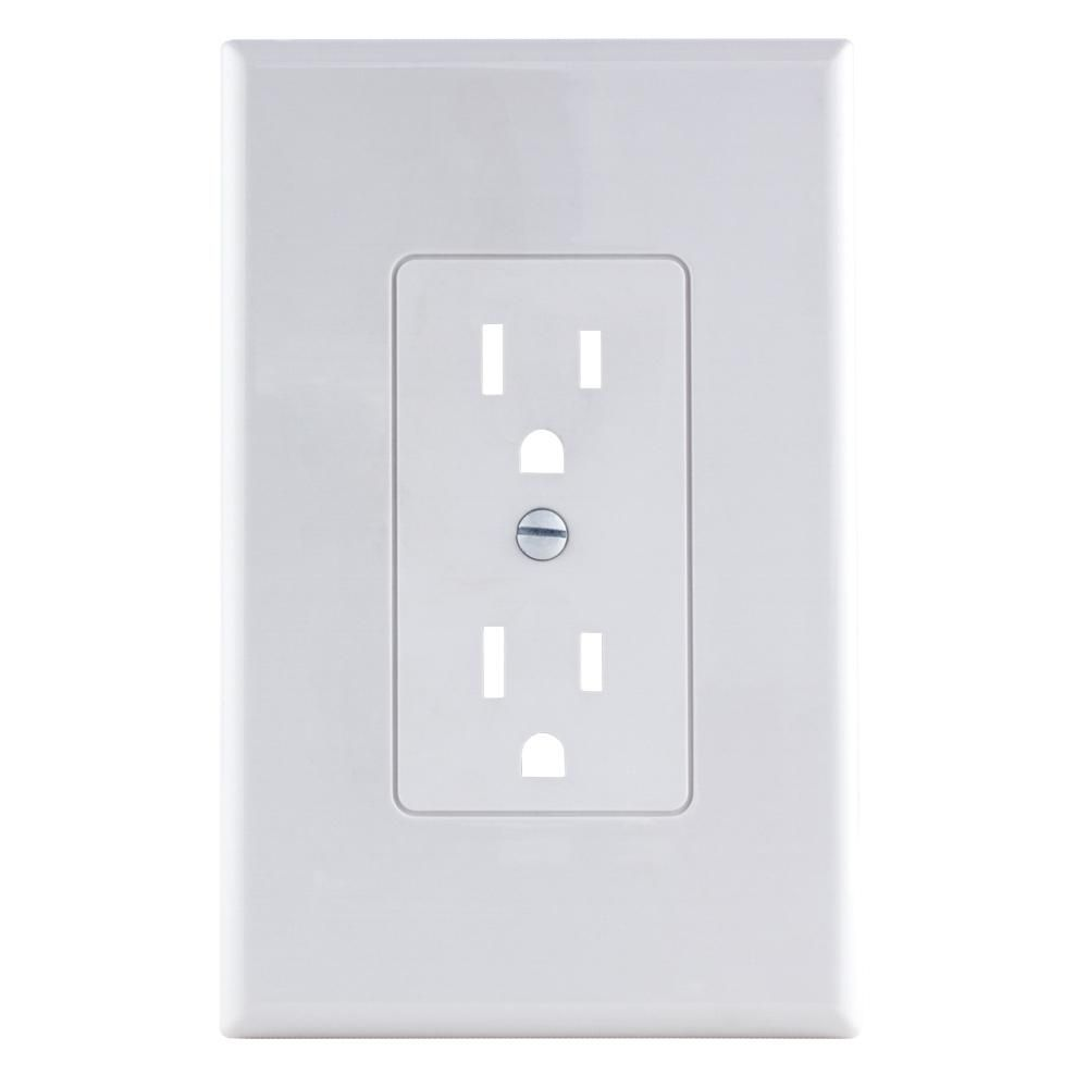 Commercial Electric 1 Gang Decorator Plastic Wall Plate White