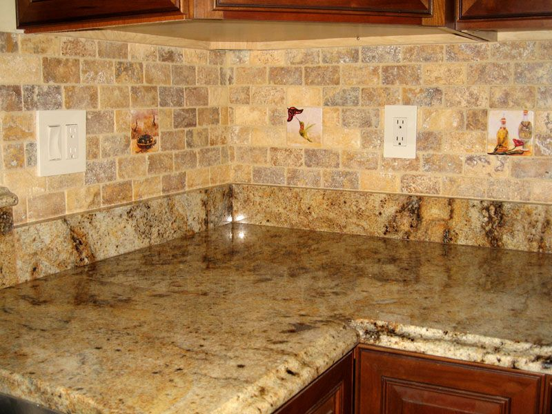 again the subway tile travertine and the same granite and existing border i have kitchen countertopskitchen backsplash