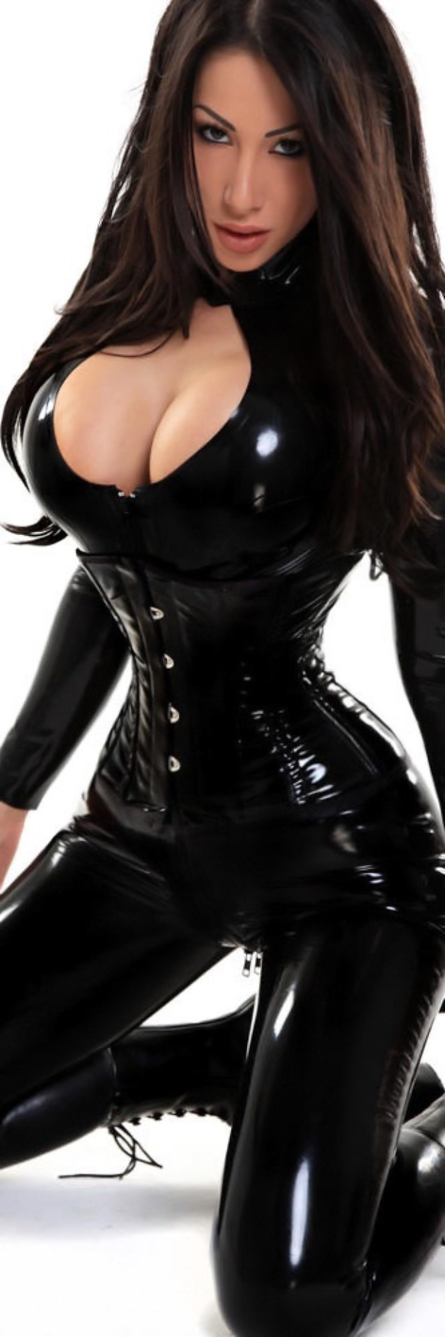Latex girls wearing leather
