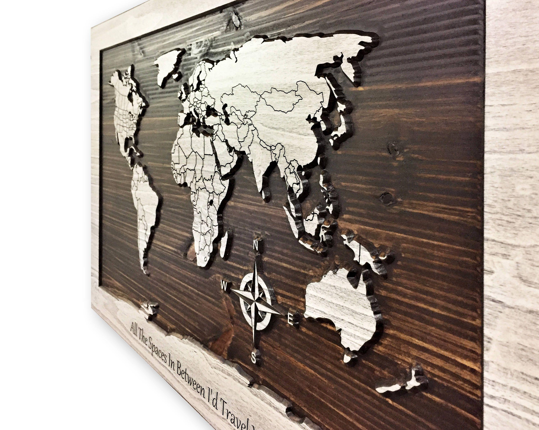 World Map Art Carved 3d Art Map Of World Custom Text World Map Decor Wooden Map World Map Art