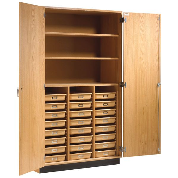 Tall Storage Cabinet With Shelves Tote Trays Doors 48 W X 22