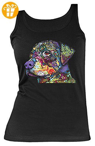 Damen Tanktop Neon Rottweiler Shirt 4 Girls Beach Tank Top Lady Geburtstag Geschenk geil bedruckt (*Partner-Link)