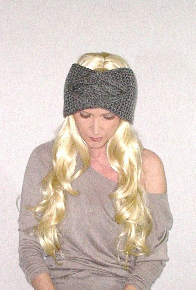 Gray Cable Knit Headband Boho Ear Warmer Soft por BohoFashionShop