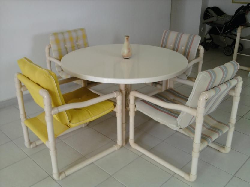 Juego de muebles pvc reciclados muebles pvc muebles y - Como hacer una mampara ...