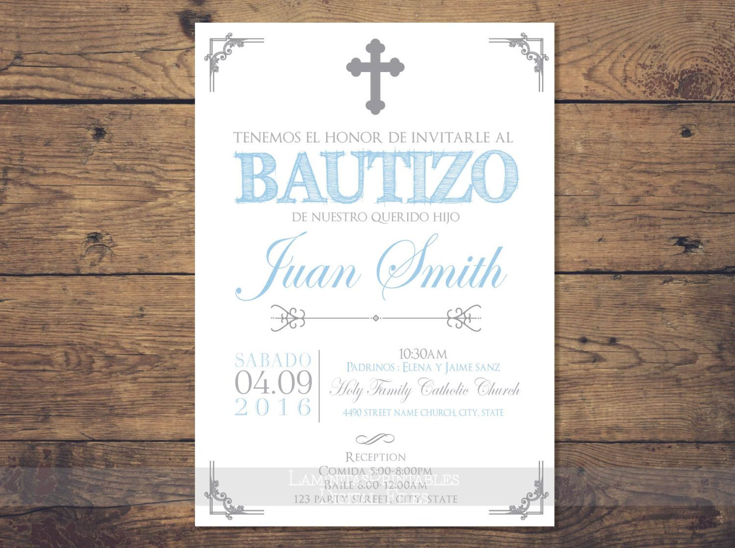 Silver Baptism invitation boy spanish, baptism invitation printable ...
