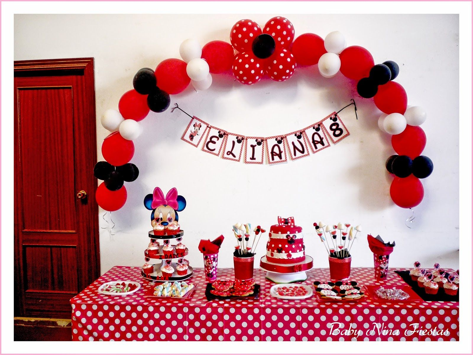 Cumple minnie fiestas ari pinterest minnie cumple y for Decoracion blanco negro rojo