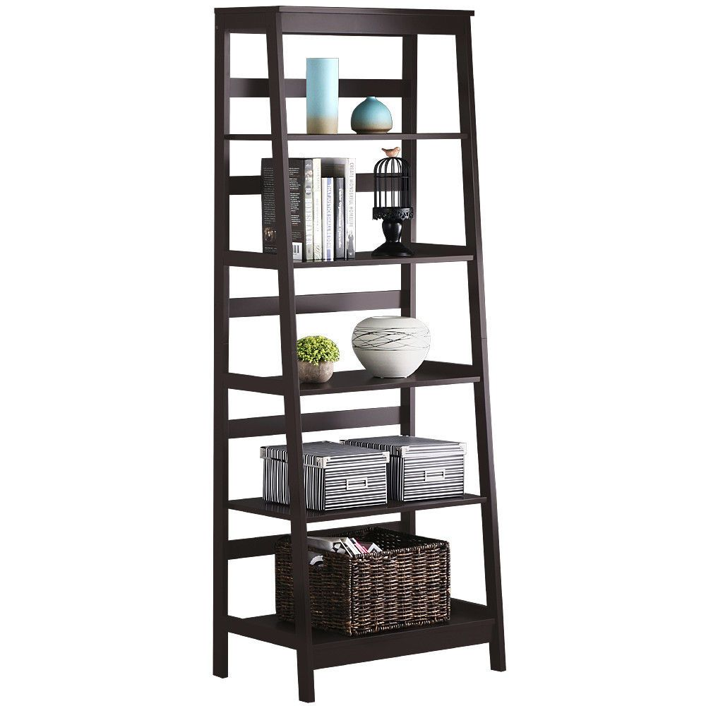 New 5 Tier Bookcase Bookshelf Leaning Wall Shelf Shelving Ladder