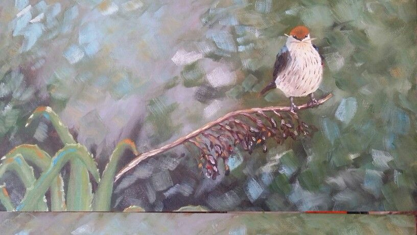 Impressionistic bird in oil